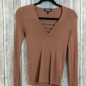 Express Brown Long Sleeve V-Neck Ribbed Sweater M